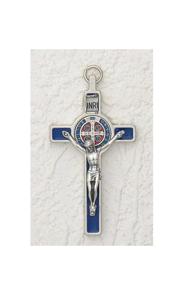3 inch Enameled Saint Benedict Crucifix with Blue Enamel