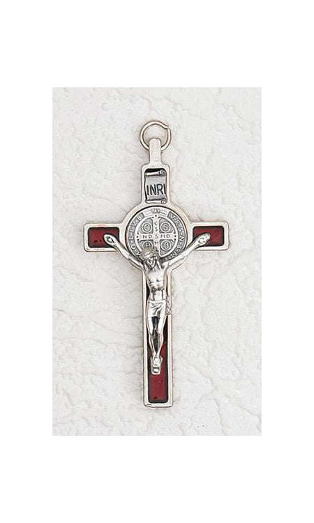 3 inch Saint Benedict Crucifix with Red Pearl Effect