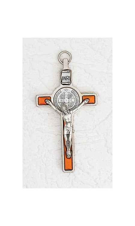 3 inch Saint Benedict Crucifix with Orange Pearl