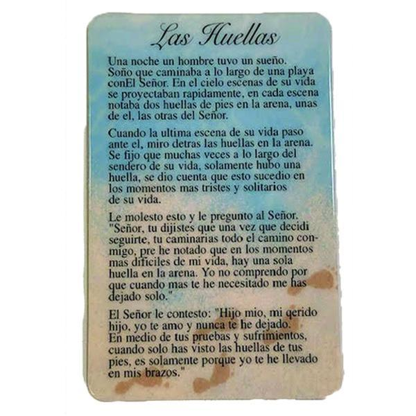 Spanish Laminated Prayer Card - Las Huellas