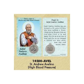 25-Pack - Healing Saint s Prayer Card with Pendant - Saint Andrew Avelino- Patron Saint of Strokes and High Blood Pressure