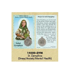 25-Pack - Healing Saint s Prayer Card with Pendant - Saint Dymphna- Patron Saint of Stress, Anxiety and Mental Health