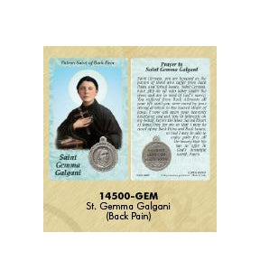 25-Pack - Healing Saint s Prayer Card with Pendant - Saint Gemma Galgani- Patron Saint of Back Pain