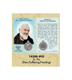 25-Pack - Healing Saint s Prayer Card with Pendant - Saint Pio of Pietrelcina- Patron Saint of Healing, Suffering and Pain
