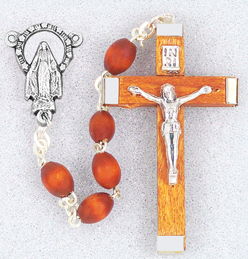 Natural Wood Bead Rosary