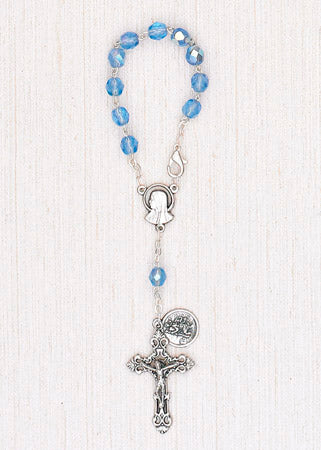 4-Pack - 6mm Glass Sapphire Auto Rosary with Premium Centerpiece and Crucifix with Saint Christopher Pendant
