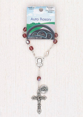 4-Pack - 6mm Glass Amethyst Auto Rosary with Premium Centerpiece and Crucifix with Saint Christopher Pendant