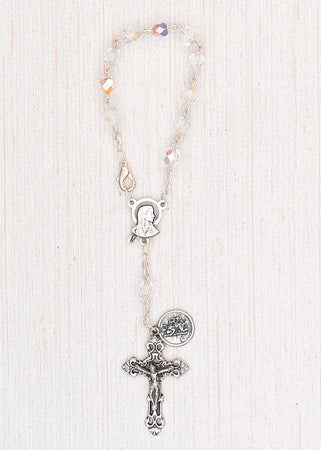 4-Pack - 6mm Glass Clear Auto Rosary with Premium Centerpiece and Crucifix with Saint Christopher Pendant