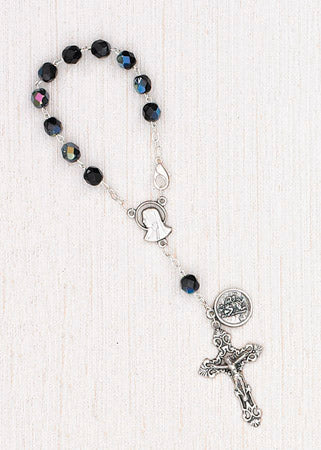 4-Pack - 6mm Glass Black Auto Rosary with Premium Centerpiece and Crucifix with Saint Christopher Pendant