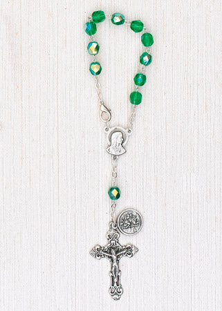 4-Pack - 6mm Glass Green Auto Rosary with Premium Centerpiece and Crucifix with Saint Christopher Pendant