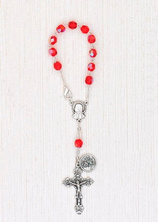 4-Pack - 6mm Glass Red Auto Rosary with Premium Centerpiece and Crucifix with Saint Christopher Pendant
