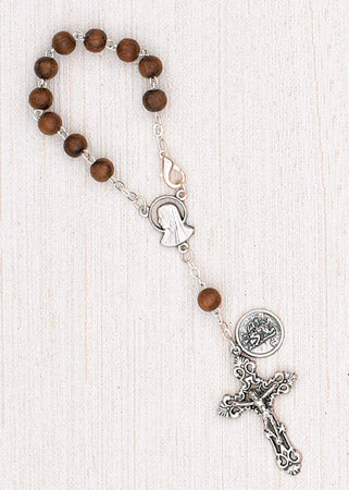 4-Pack - 6mm Wood Auto Rosary with Premium Centerpiece and Crucifix with Saint Christopher Pendant