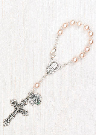 4-Pack - 6mm Glass Pearl Auto Rosary with Premium Centerpiece and Crucifix with Saint Christopher Pendant