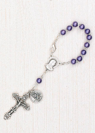 4-Pack - 6mm Purple Pearl Auto Rosary with Premium Centerpiece and Crucifix with Saint Christopher Pendant