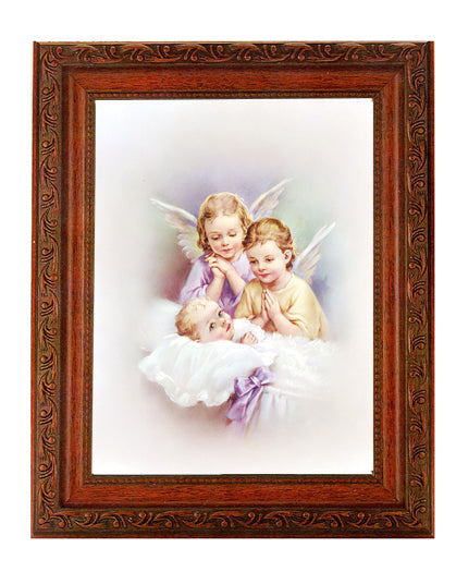 Guardian Angels In Ornate Wood Frame 10X12-inch 8X10 Print