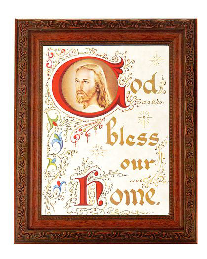 Christ-House Blessng In Ornate Wood Frame 10X12-inch 8X10 Print