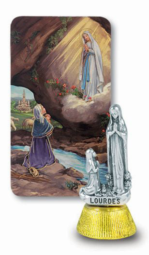Our Lady Of Lourdes Auto Statue With Prayer Card