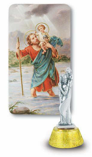 St Christopher Auto Statue With Prayer Card