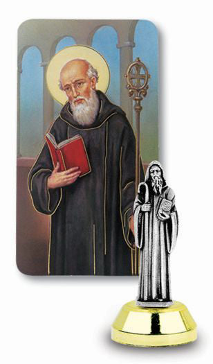 St Benedict Auto Statue With Prayer Card