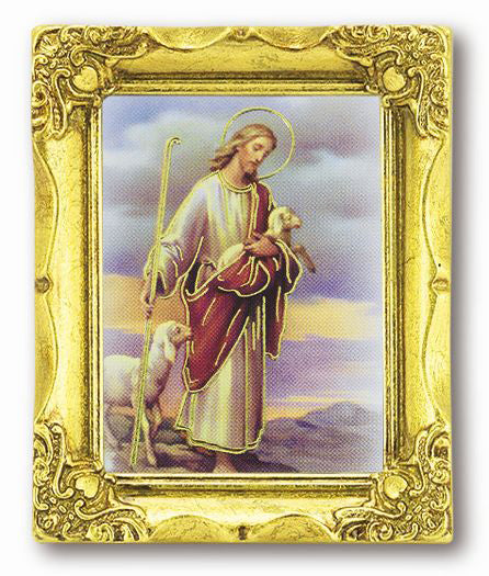 Good Shepherd3-inchX2-inch Antique Gold Frame with Gold Stmpd Italian Art