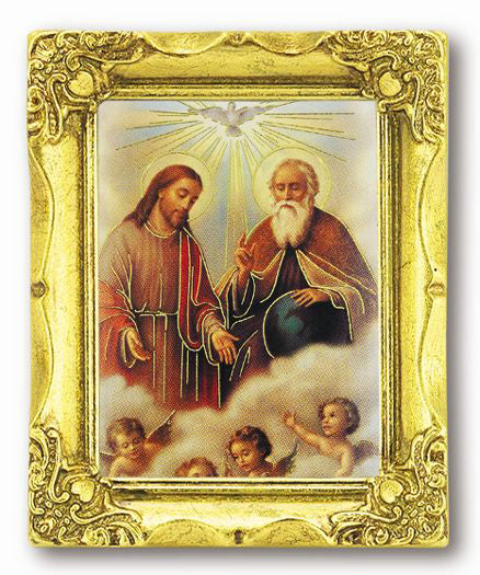Holy Trinity 3-inchX2-inch Antique Gold Frame with Gold Stmpd Italian Art