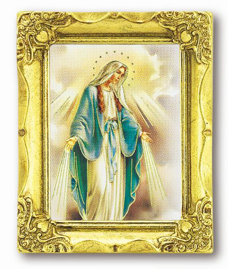 Our Lady of Grace 3-inchX2-inch Antique Gold Frame with Gold Stmpd Italian Art