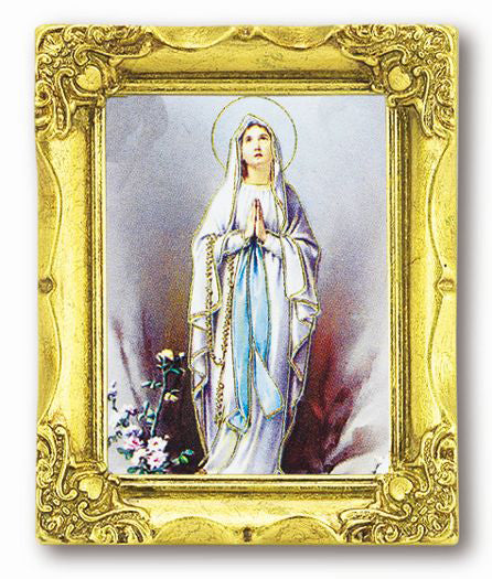 Our Lady of Lourdes 3-inchX2-inch Antique Gold Frame with Gold Stmpd Italian Art