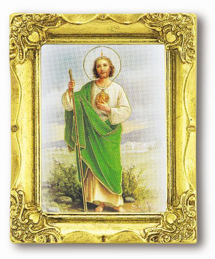 Saint Jude 3-inchX2-inch Antique Gold Frame with Gold Stmpd Italian Art