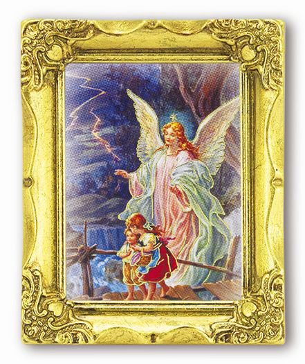 Guardian Angel 3-inchX2-inchAnt Gold Frame with Gold Stmpd Italian Art