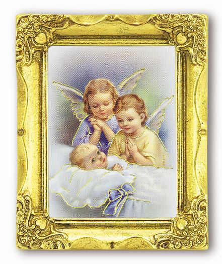 Guardian Angls 3-inchX2-inchAnt Gold Frame with Gold Stmpd Italian Art
