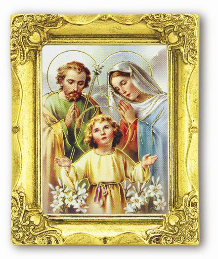 Holy Family 3-inchX2-inch Antique Gold Frame with Gold Stmpd Italian Art