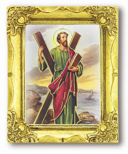 Saint Andrew 3-inchX2-inch Antique Gold Frame with Gold Stmpd Italian Art