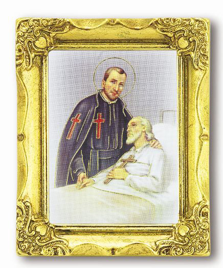 Saint Camillus 3-inchX2-inch Antique Gold Frame with Gold Stmpd Italian Art
