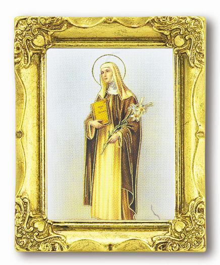 Saint Catherine 3-inchX2-inchAnt Gold Frame with Gold Stmpd Italian Art