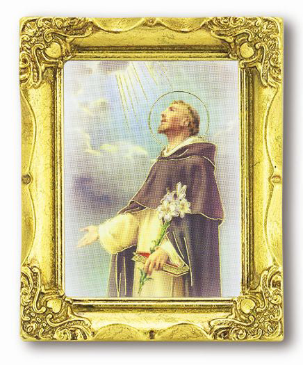 Saint Dominic 3-inchX2-inch Antique Gold Frame with Gold Stmpd Italian Art