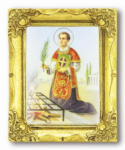 Saint Lawrence 3-inchX2-inch Antique Gold Frame with Gold Stmpd Italian Art