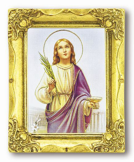 Saint Lucy 3-inchX2-inch Antique Gold Frame with Gold Stmpd Italian Art