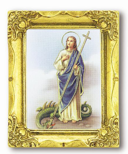 Saint Martha 3-inchX2-inch Antique Gold Frame with Gold Stmpd Italian Art
