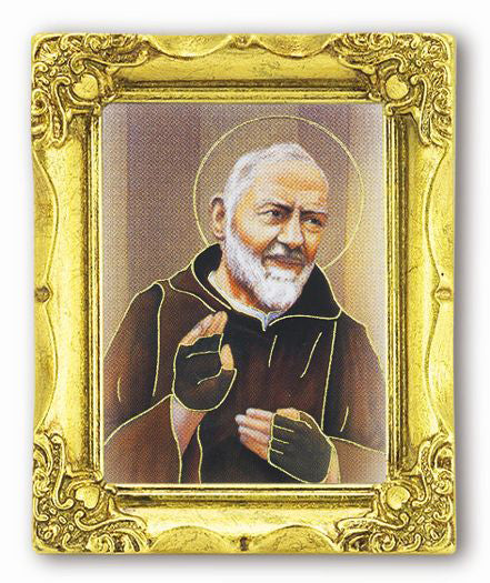 Saint Pio 3-inchX2-inch Antique Gold Frame with Gold Stmpd Italian Art