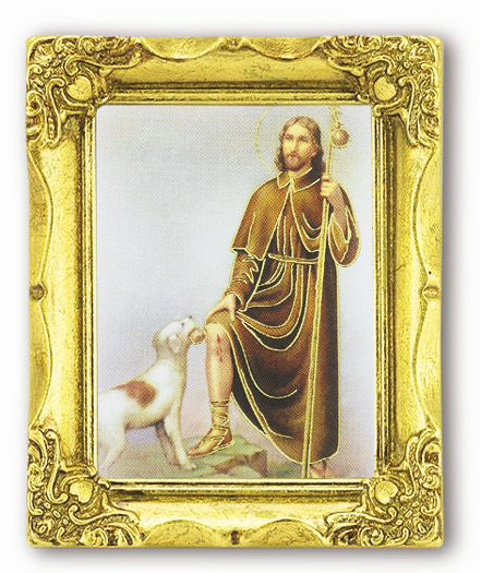 Saint Rocco 3-inchX2-inch Antique Gold Frame with Gold Stmpd Italian Art