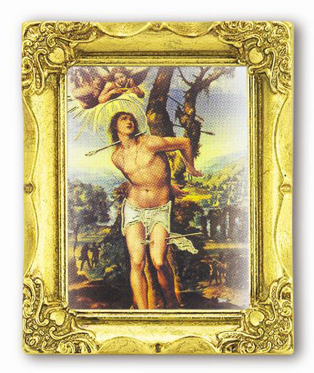 Saint Sebastian-inchX2-inch Antique Gold Frame with Gold Stmpd Italian Art