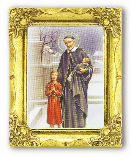 Saint Vincent 3-inchX2-inch Antique Gold Frame with Gold Stmpd Italian Art