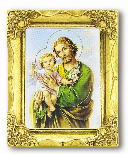 Saint Joseph 3-inchX2-inch Antique Gold Frame with Gold Stmpd Italian Art