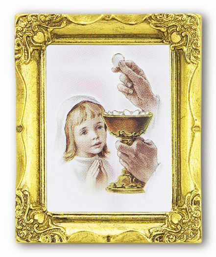 1St Communion Girl 3X2Ant Gold Frame with Gs Italian Art
