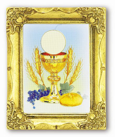 Holy Communion 3X2 Antique Gold Frame and Stmp Italy Art
