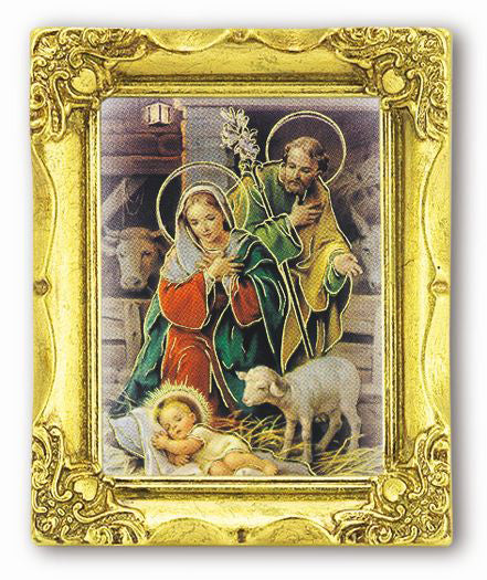 Nativity 3-inchX2-inch Antique Gold Frame with Gold Stmp Ital Art