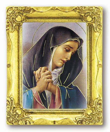 Mother Of Sorrows 3-inchX2-inch Antique Gold Frame with Stmpd Italian Art