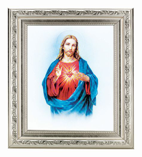 Sacred Heart In Ornate Silver 10X12-inch 8X10 Print