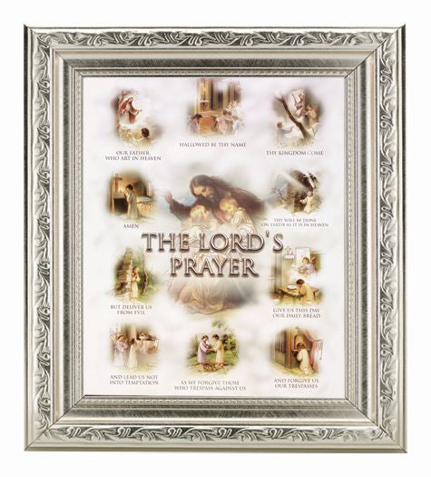 The Lord'S Prayer In Ornate Silver Frme 10X12-inch 8X10 Print