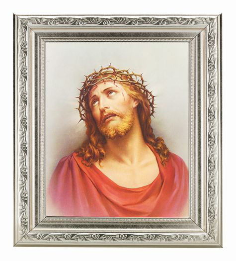Christ In Agony with Ornate Silver Frame 10X12-inch 8X10 Print